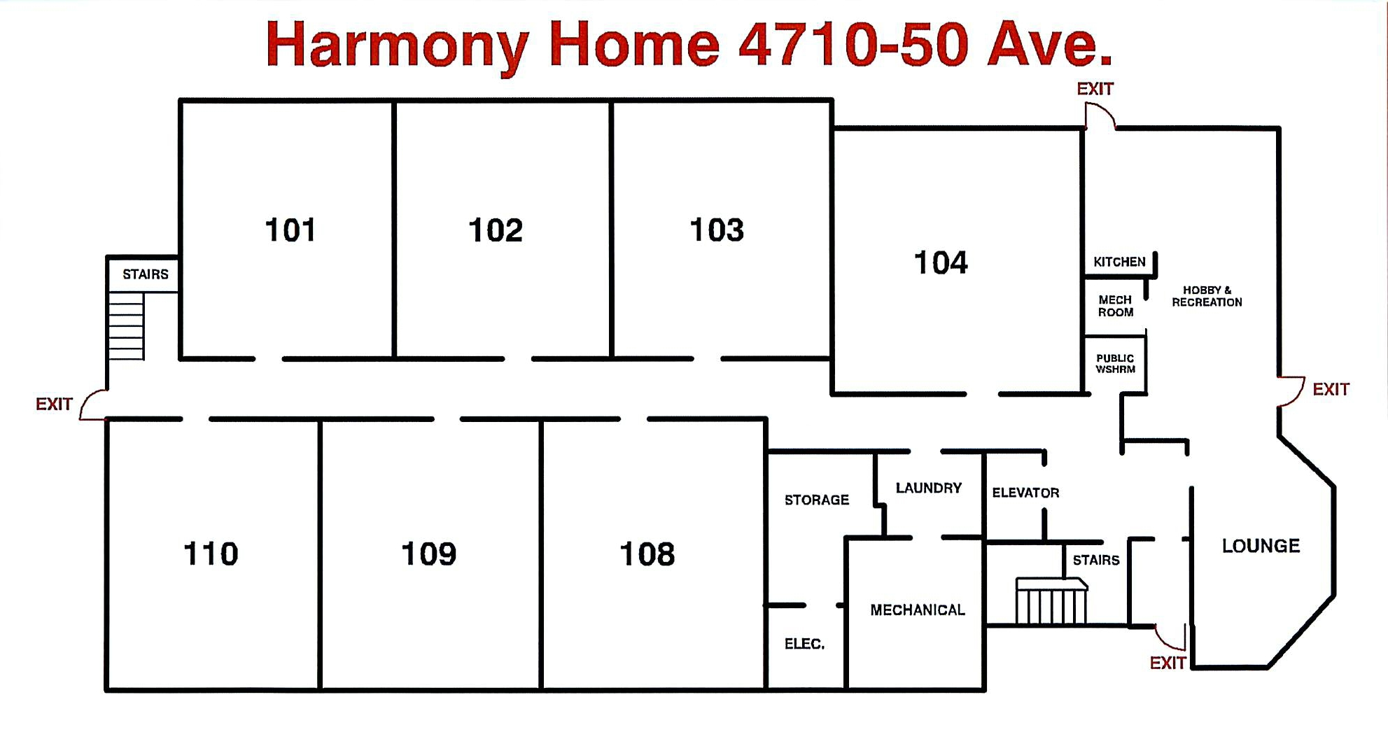 Floor Plan - Harmony Home 1st Floor May 2018