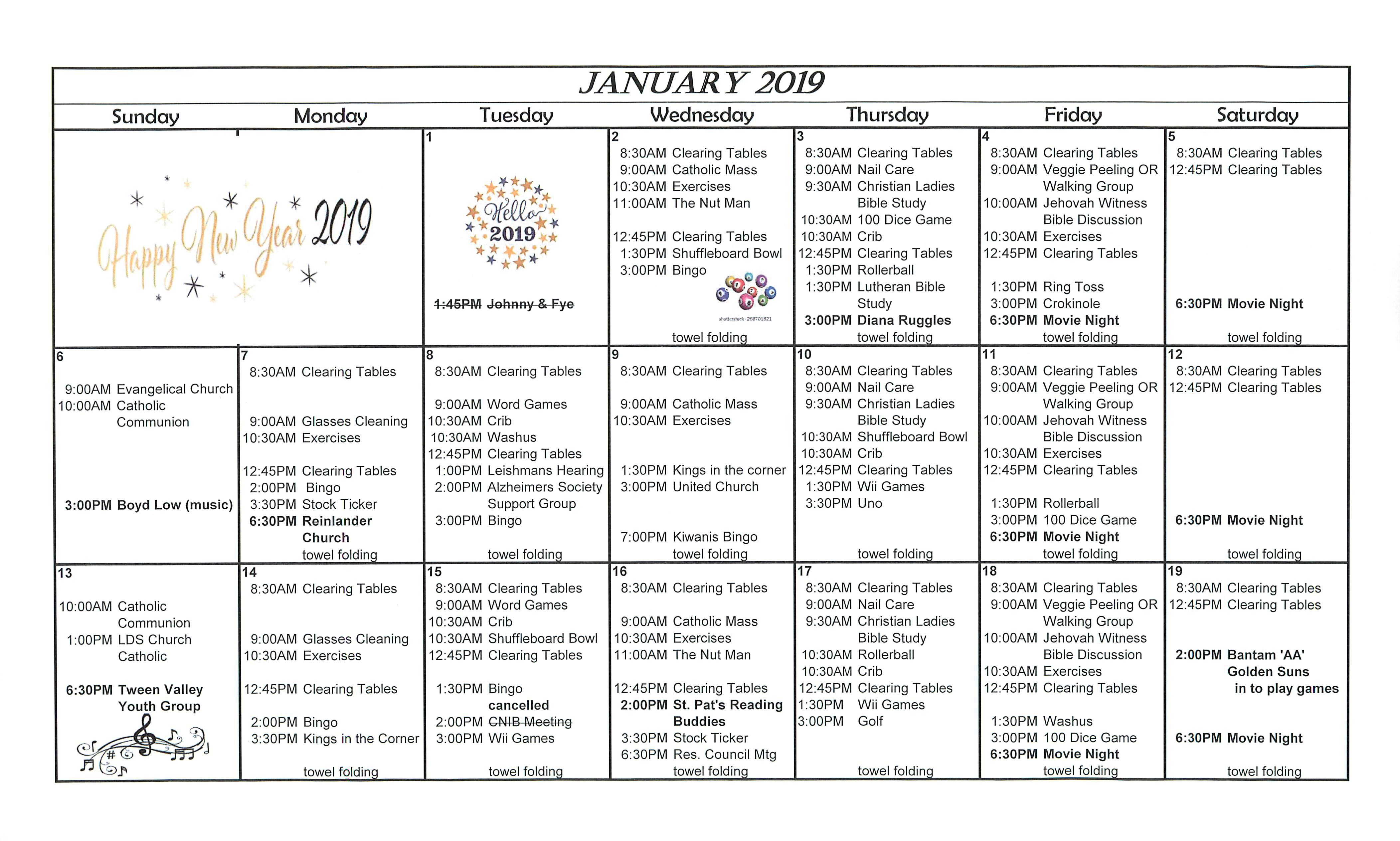 Clearview Lodge January 2019 Activity Calendar | Taber